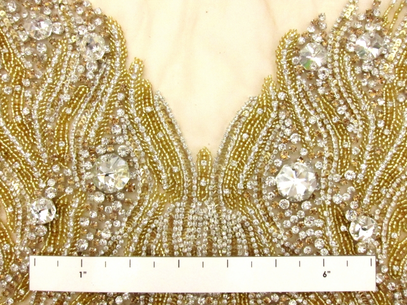 Colette Gold Crystal Embroidered Tulle Bodice1
