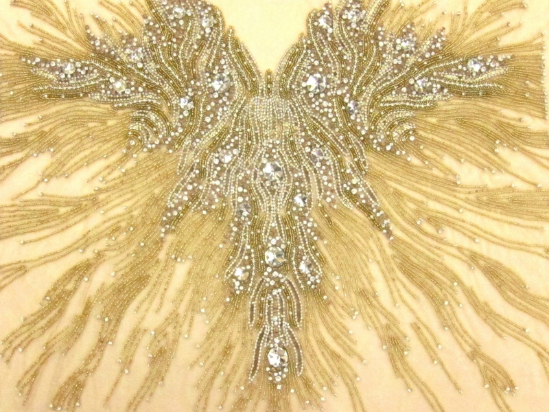 Colette Gold Crystal Embroidered Tulle Bodice0