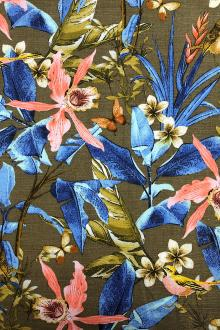 Cotton Linen Tropical Print0