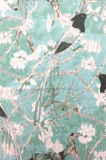 Linen With Birds On Cherry Blossom Print0