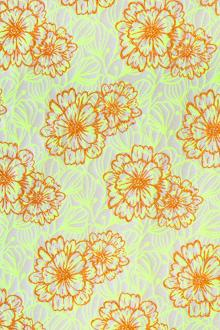 eaa96451e Cotton and Acetate Blend Metallic Brocade with Neon Flowers
