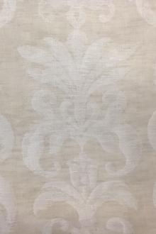 Poly Linen Double Gauze Filigree Damask in Natural0