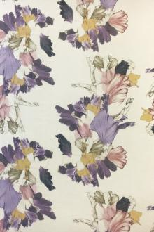 Linen & Silk Textured Sheer Floral Print0