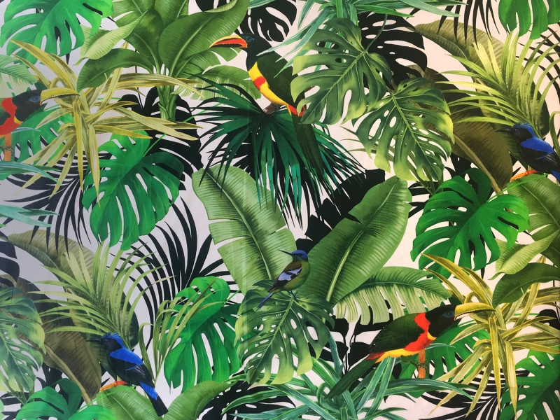 Max Mara Italian Cotton Tropical Plants and Birds Print0
